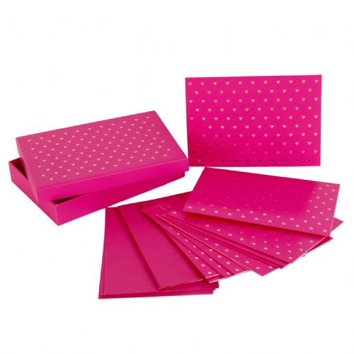 Decorative Note Card Set Pink with Gold Hearts Notelets and Envelope Set